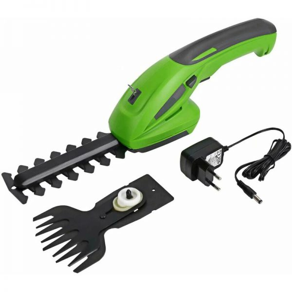 7.2V Cordless Hedge and Grass Trimmer Shears - Lawn Shear with 2 Blades, 1500mAh Battery, Charger for Cutting, Pruning