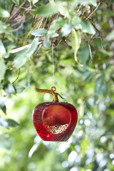 Apple Hanging Glass Bird Feeder by Smart Garden