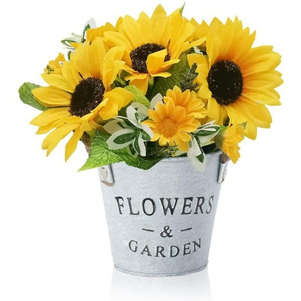 Artificial Flowers, Sunflower Artificial Plant with Metal Pot, Mini Artificial Plant Decoration for Outdoor Indoor Wedding Office Table Garden Party