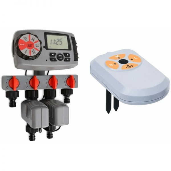 Automatic Water Timer with 4 Stations and Moisture Sensor 3 V - Multicolour - Vidaxl