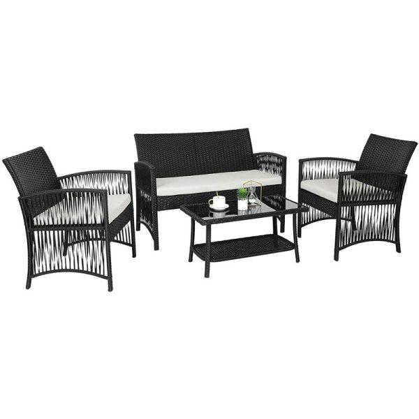 BAMNY Rattan Garden Furniture Set, 4 Piece PE Rattan Patio Furniture Sets Weaving Wicker Sofa Set With Cushion Glass Table, For Patio, Lawn, Garden,