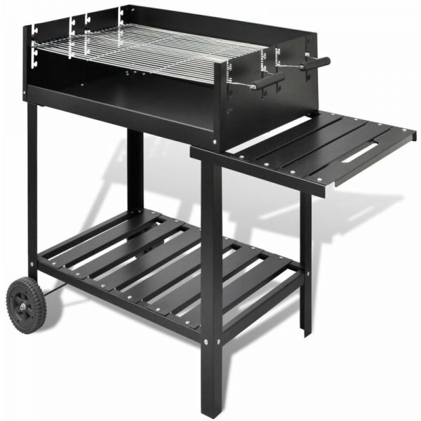 BBQ Stand Charcoal Barbecue 2 Wheels - Black