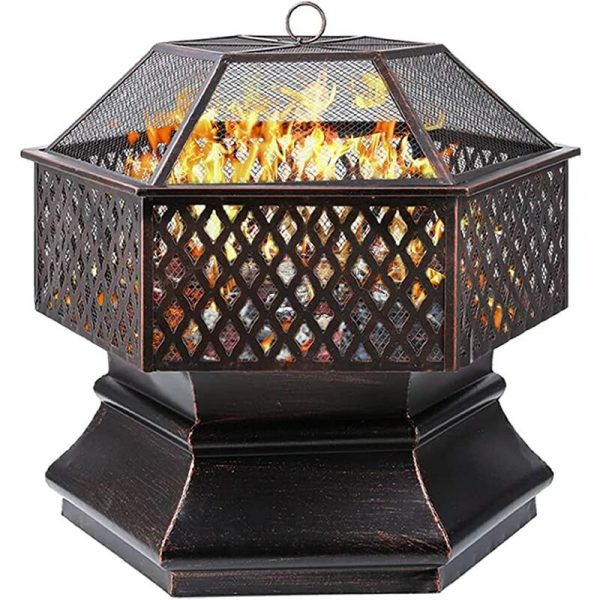 Bamny Fire Bowl, Hexagonal Fire Pit, Garden, Fire Basket with Grill Grate, Spark Guard Grate, Poker & Charcoal Grate, for Heating/BBQ, Fire Bowls for