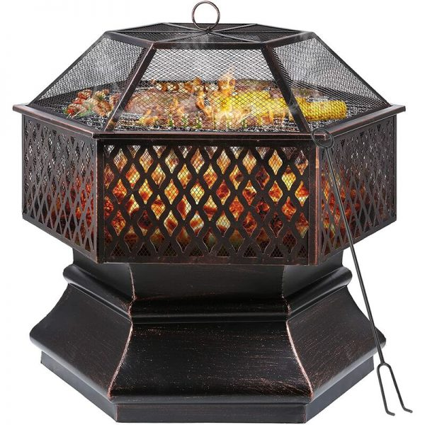 Bamny Fire Bowl,Hexagonal Fire Pit, Garden, Fire Basket with Grill Grate, Spark Guard Grate, Poker & Charcoal Grate, for Heating/BBQ, Fire Bowls for