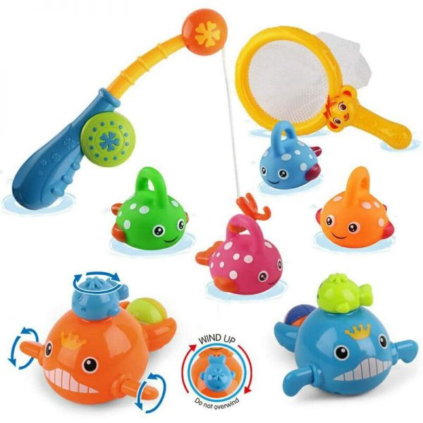 Bath Toys Mold Free Fishing Games Swimming Whales BPA Free Water Table Pool Bath Time Bathtub Tub Toy for Toddlers Baby Kids Infant Girls Boys Age 1