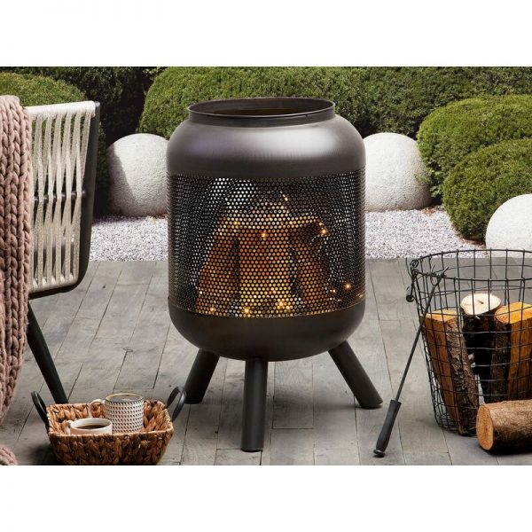 Beliani - Modern Outdoor Charcoal Fire Pit Black Steel Metal Cylindrical Round Veer