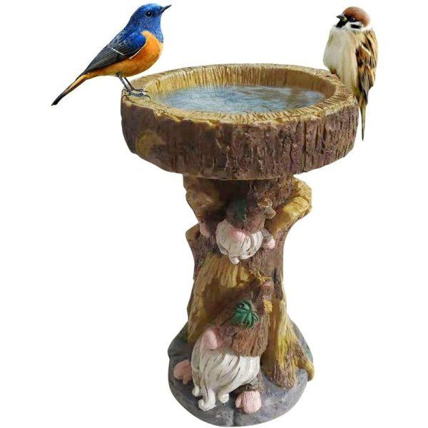 Bird Feeder, Resin Birth Bath Pond, Garden Gnome Decor, Outdoor Bird Feeder, Bird Feeder