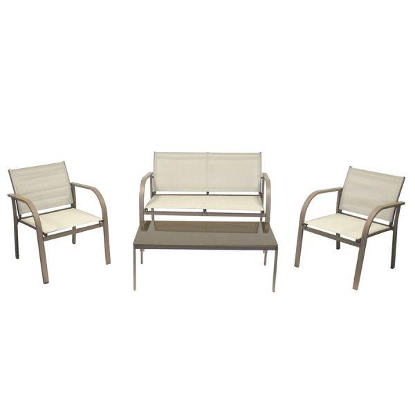 Charles Bentley Modern Mesh Outdoor Lounge Set - Cream