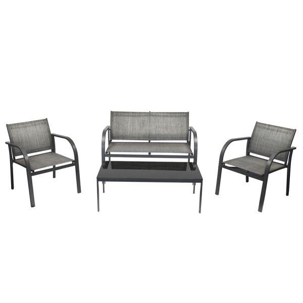 Charles Bentley Modern Mesh Outdoor Lounge Set - Grey
