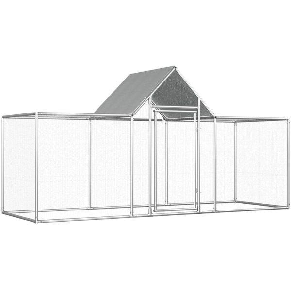 Chicken Coop 3x1x1.5 m Galvanised Steel - Silver