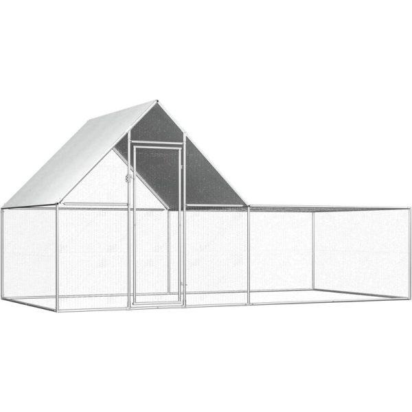 Chicken Coop 4x2x2 m Galvanised Steel - Silver - Vidaxl