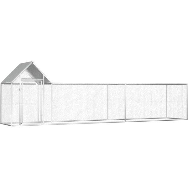 Chicken Coop 5x1x1.5 m Galvanised Steel - Silver - Vidaxl