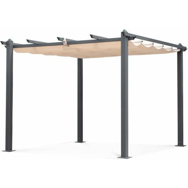 Condate: Aluminium pergola 3x3m with sliding retractable canopy, beige