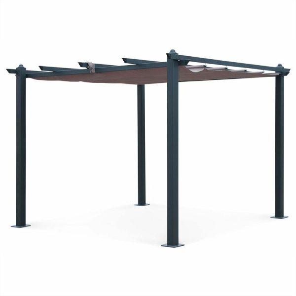 Condate: Aluminium pergola 3x3m with sliding retractable canopy, beige-brown