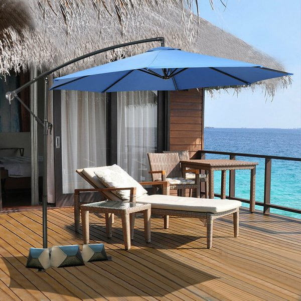 Costway - 2.7m Outdoor Parasol Sun Shade Patio Banana Cantilever Hanging Umbrella Garden Blue
