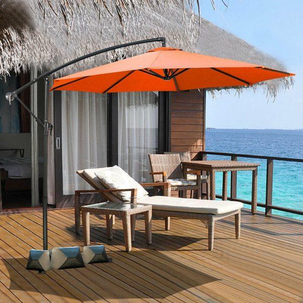 Costway - 2.7m Outdoor Parasol Sun Shade Patio Banana Cantilever Hanging Umbrella Garden Orange