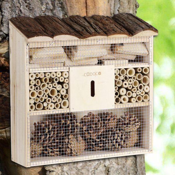 Deuba Insect Hotel 30.5x31x9.5cm Wooden Bee Natural Bug Shelter Garden Nest Box Wood House Butterflies Ladybirds Habitat