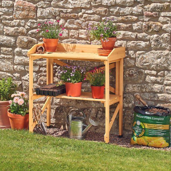 Garden Grow Wooden Two-Tier Potting Bench