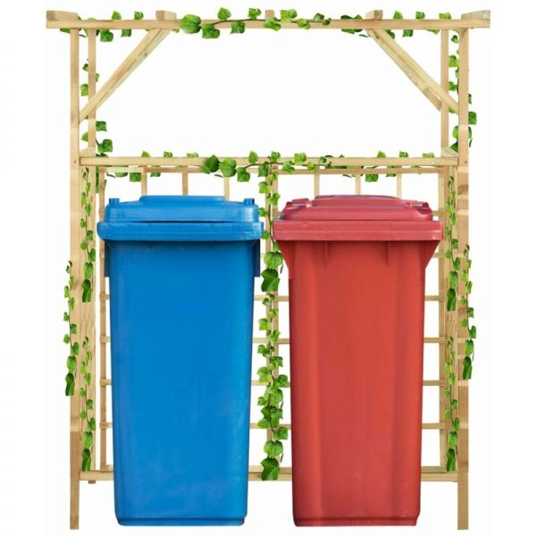 Garden Pergola for Double Bins Impregnated Pinewood - Brown - Vidaxl