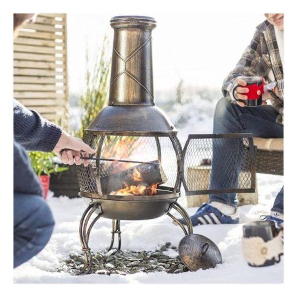 La Hacienda 56156 Leon Medium Chimenea Chiminea Mesh Bronze Steel Garden Heater