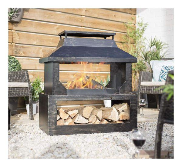 La Hacienda 58281 Stonehurst Fireplace Firepit Chimenea Garden Log Burner Heater