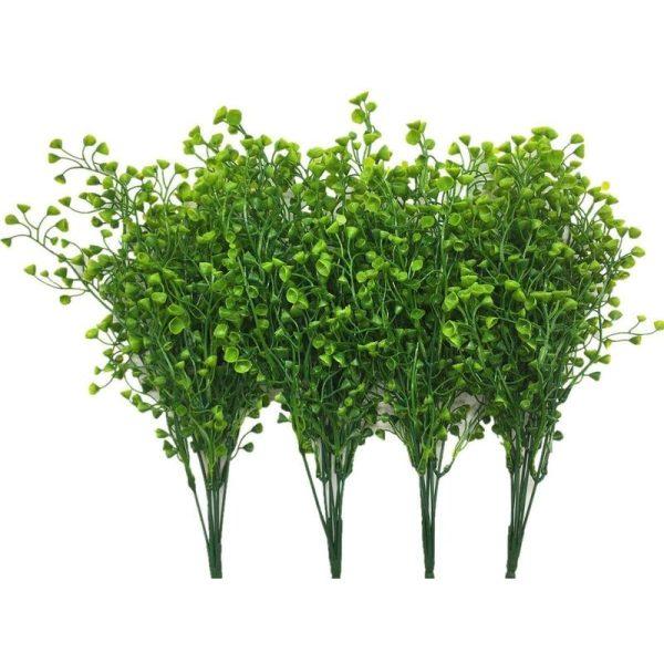 LangRay Artificial Shrubs Bushes, Plastic Fake Green Plants Wedding Indoor Outdoor Home Garden Verandah Kitchen Office Table Centerpieces