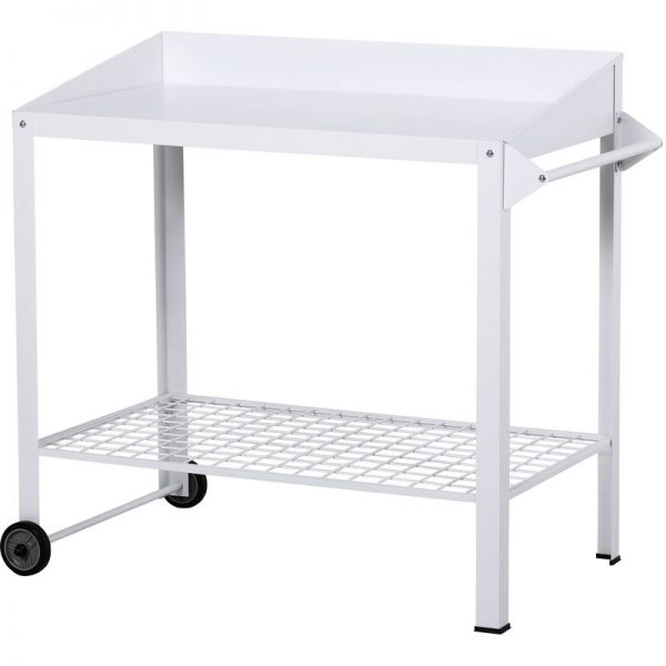 Metal Potting Bench Table Outdoors Garden w/ Wheels, Side Hanger - Outsunny