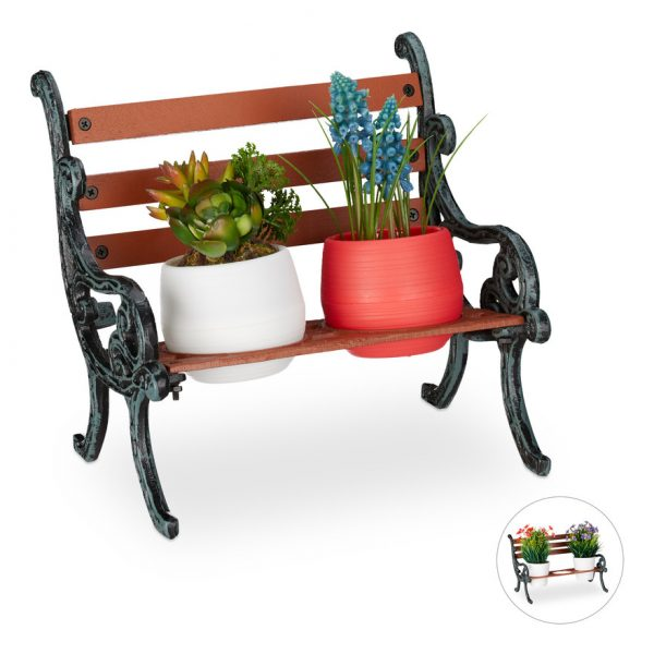Mini Flower Bench, Wood & Cast Iron, Flower Holder for 2 Pots, Garden Decoration, Brown/Grey-Green - Relaxdays
