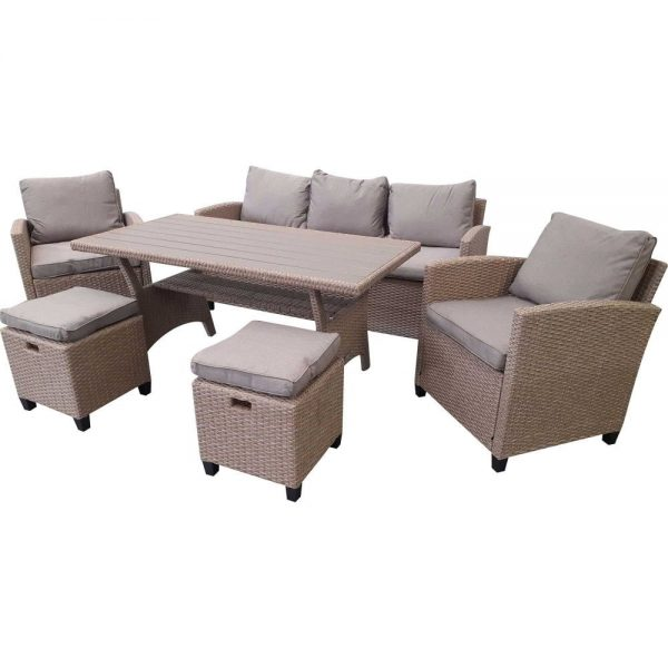 Stylish Rattan 7 Seater Sofa Garden Dining Set