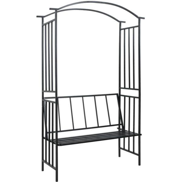 Zqyrlar - Garden Arch with Bench Black 128x50x207 cm Iron - Black