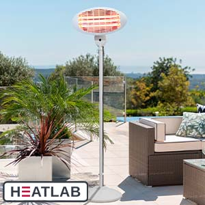 2kW IPX4 Freestanding Electric Quartz Bulb Patio Heater in White - 3 Power Settings by Heatlab®
