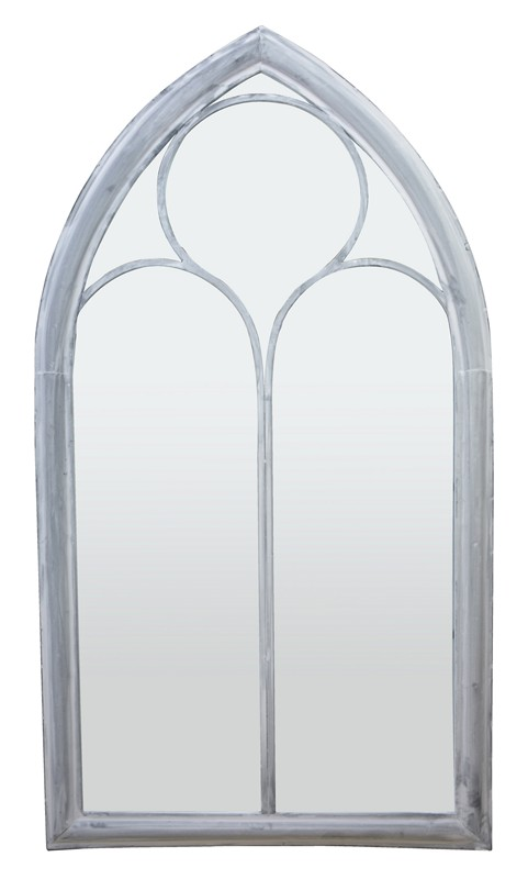 3ft 8in x 2ft Gothic Arched Glass Light Garden Mirror
