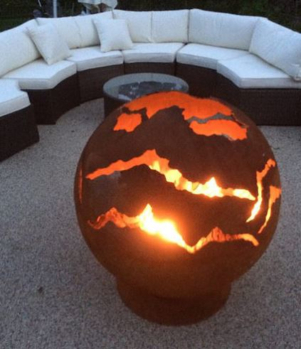 90cm Dia Steel Fire Pit Sphere Lava - by CORE Landscape Products