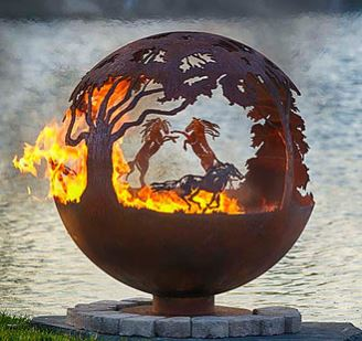 90cm Dia Steel Fire Pit Sphere - Wild Horses Globe - by CORE Landscape Products