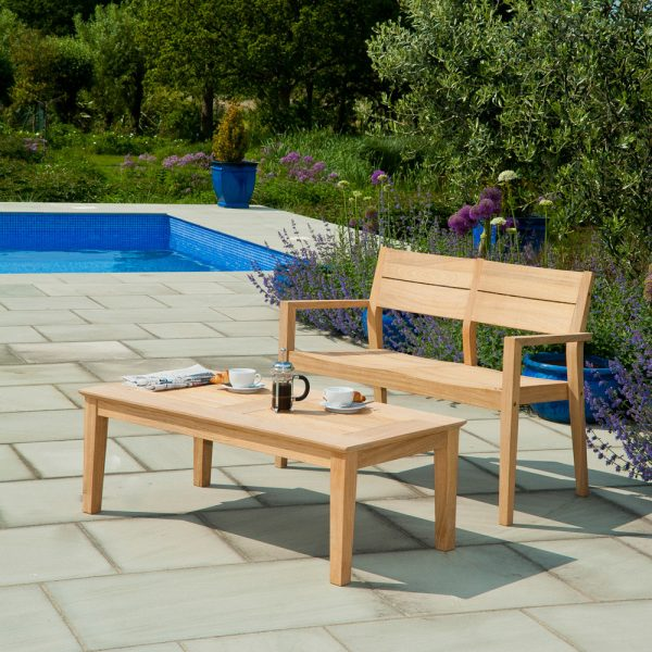 Alexander Rose Roble Wooden 4ft Garden Bench with Coffee Table