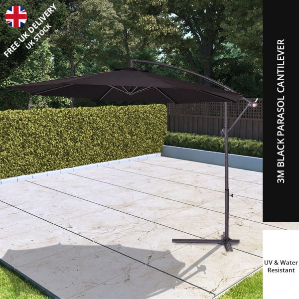 BillyOh Garden 3m Parasol Cantilever - 3m - Black