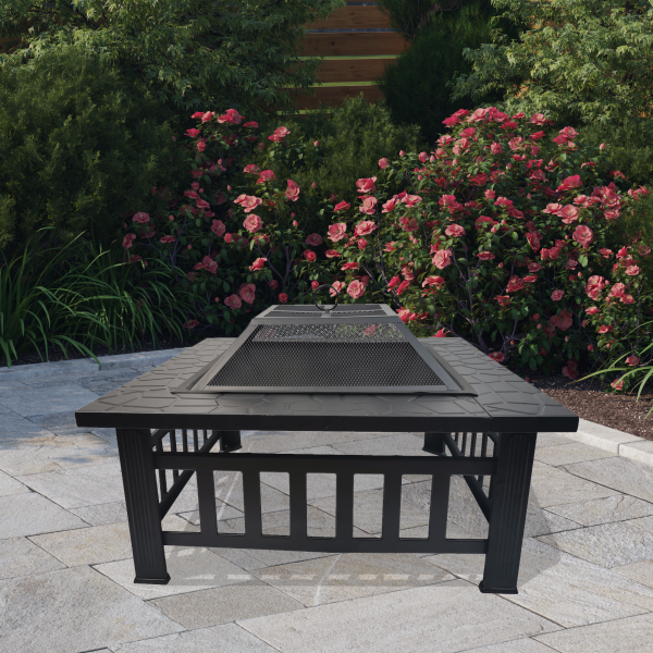 BillyOh Phoenix 3 in 1 Square Metal Fire Pit, BBQ Grill and Ice Pit - Metal Fire Pit