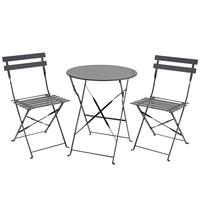 Charles Bentley 3 Piece Metal Bistro Set Garden Patio Table 2 Chairs - 6 Colours Grey