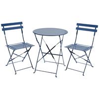 Charles Bentley 3 Piece Metal Bistro Set Garden Patio Table 2 Chairs - 6 Colours Navy