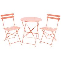Charles Bentley 3 Piece Metal Bistro Set Garden Patio Table 2 Chairs - 6 Colours Orange
