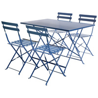 Charles Bentley 4 Seater Rectangular Metal Folding Dining Set - Navy Grey
