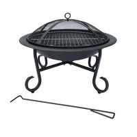 Charles Bentley 56cm Round Outdoor Garden Patio Fire Pit Heater Open Bowl Black