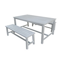 Charles Bentley FSC Acacia White Washed Wooden Bench Dining Set - 4-6 Seater