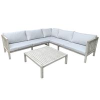 Charles Bentley FSC Acacia White Washed Wooden Corner Lounge Set