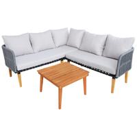 Charles Bentley FSC Acacia Wood and Rope Corner Lounge Set