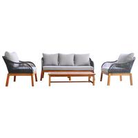 Charles Bentley FSC Acacia Wood and Rope Lounge Set