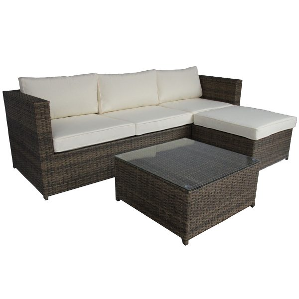 Charles Bentley L-Shaped 3 Seater Rattan Lounge Set - Natural