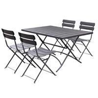 Charles Bentley Metal Powder Coated 4 Seater Dining Set - Dark Grey