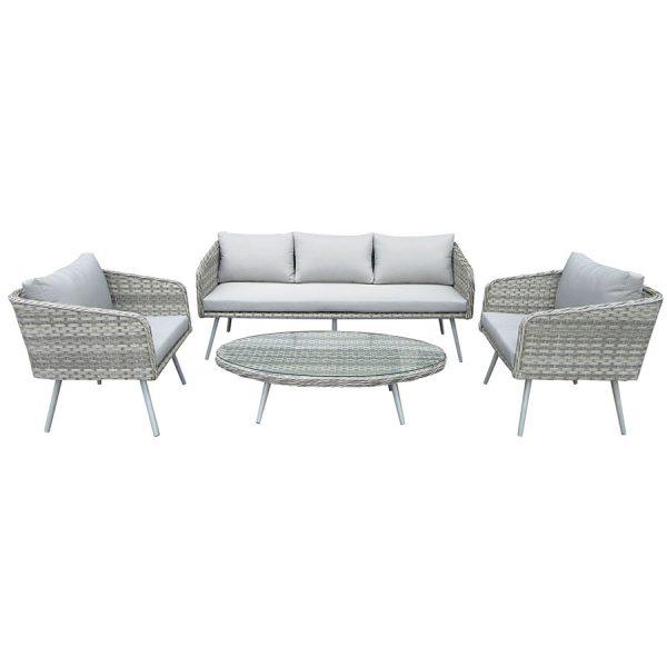 Charles Bentley Milano 5-Seater Rattan Lounge Set - Grey
