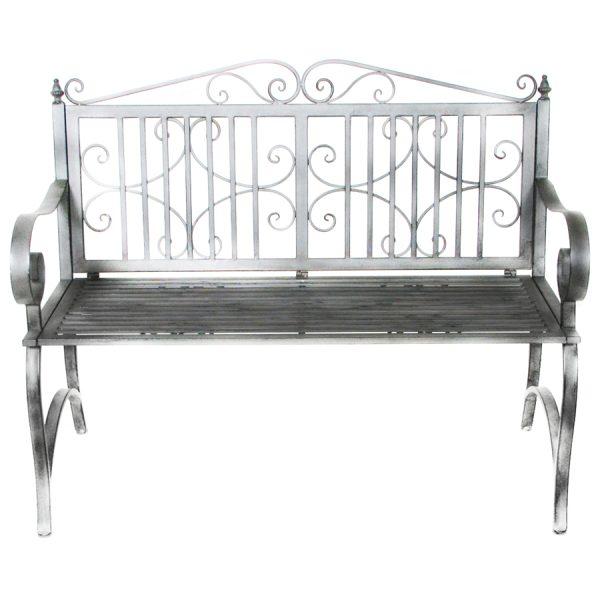 Charles Bentley Wrought Iron 2-Seater Garden Bench - Grey
